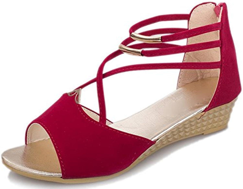sandalias de cuña femenina panecillo de fondo grueso impermeable con los zapatos aumento de las mujeres cabeza...