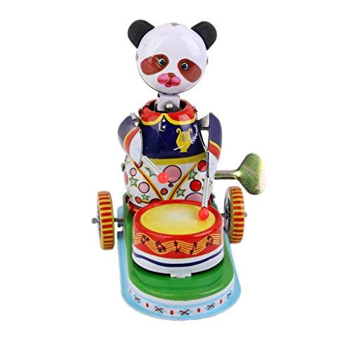 Juguete de Cuerda Modelo Panda Baterista Oso de Colección Hojalata