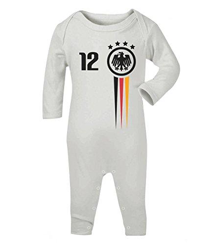 Fanartikel zur Fussball EM Frankreich Baby Geschenk Baby Strampler Strampelanzug 3 - 6 months Weiß (Fußball-baby-t-shirt)