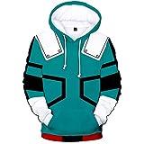QMKJ Unisex Green and Blue 3D Prints Peak Pullover Mens Hoodie Wool Fleece Sweatshirt Jumper Jacket with Adjustable Hood and Front Pockets Team Club Couple Hoodies,Green,XXXL