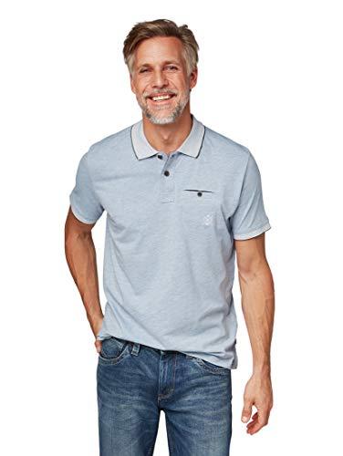 TOM TAILOR TOM TAILOR für Männer Poloshirts Poloshirt in Melange-Optik Melted Frost Blue, M