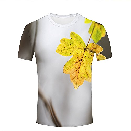3d Print Short Sleeves T Shirts Personalized Yellow Leaf Graphics Men Women Couple Fashion Tees S (Bamboo Sleeve Short Tee)