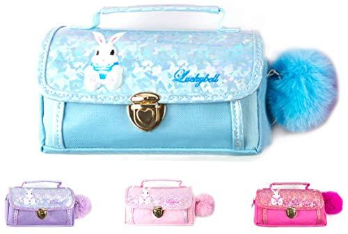 Luckybell - Estuche para lápices con diseño de conejo 3D, multifuncional, con pompón, ideal como regalo para el día de San Valentín, color azul