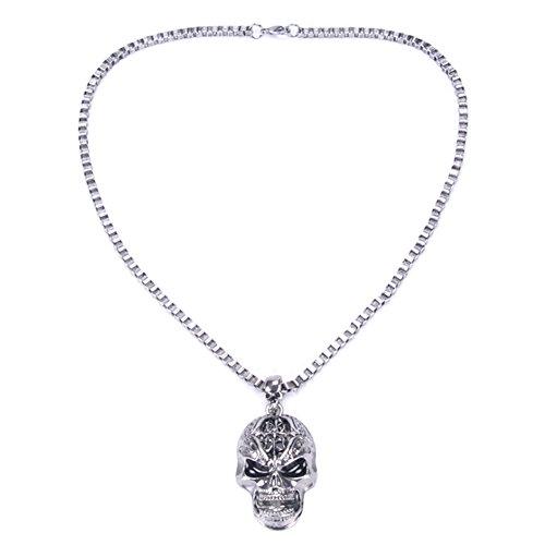 Naisicatar Jewelry–Collar Colgante aleación Collar Colgante aleación Fantasía para Hombre Mujer Regalo Toussaint Estilo gótico Punk # Cabeza de Calavera # X 1