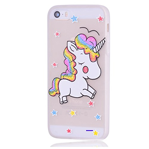 iPhone 5S / SE / 5 Copertura,Modello variopinto di Bling del fumetto sveglio creativo Custodia protettiva della pelle in gomma sottile TPU Case per iPhone 5S / SE / 5,Stelle Unicorn #1