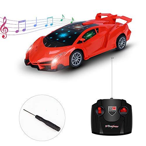 Sylanda Ferngesteuertes Auto mit Musik, RC Auto Rennauto mit Fernnedienung LED-Lichter Radio Ferngesteuerter High Speed Spielzeugauto Rennfahrzeug für Kinder ab 6