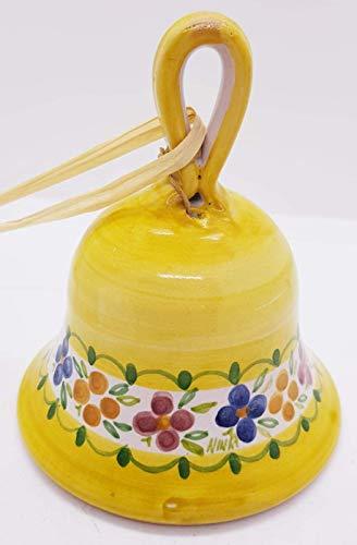 Campanella in ceramica gialla fiori pezzo unico handmade le ceramiche del castello made in italy