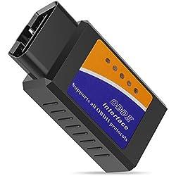 Hovinso OBD2 Bluetooth Mini Adaptateur sans-Fil Scanner Code de Défaut pour Véhicule Mini Outils