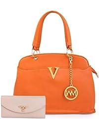 Women Marks Women's Handbag and Wallet (Orange, Combo of 2)