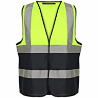 MyShoeStore Hi Viz High Vis Visibility Vests 2 Band Reflective Security Work Contractor Safety Vest Waistcoat Jacket Top Size S-4XL
