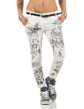 ZARMEXX Fashion Zarmexx Pantalones de Mujer Novio Jeans Holgados Pantalones de Jeggings Stretch con cinturón de...