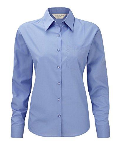 Russell Collection Women's Easycare Poplin Long Sleeve Shirt Bleu entreprise