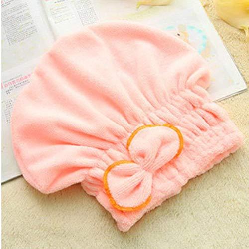 Oyamihin Kreative Duschhaube Wrapped Handtücher mit Bogen Microfiber Badezimmer Hüte superfeine Faser schnell trockenes Haar Hat Bad Zubehör - Pink