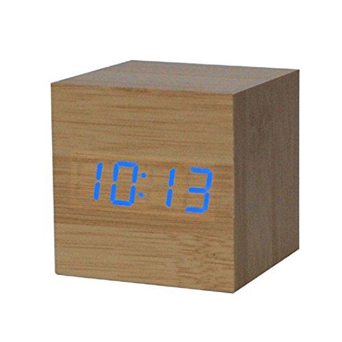 Ularmo Wecker, Wooden Bambus Einfacher Digitalwecker, blaue Ziffern