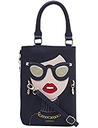 ESBEDA Black Color Printed Pu Synthetic Material Slingbag For Womens