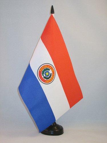 BANDERA de MESA de PARAGUAY 21x14cm - BANDERINA de DESPACHO PARAGUAYA 14 x 21 cm - AZ FLAG