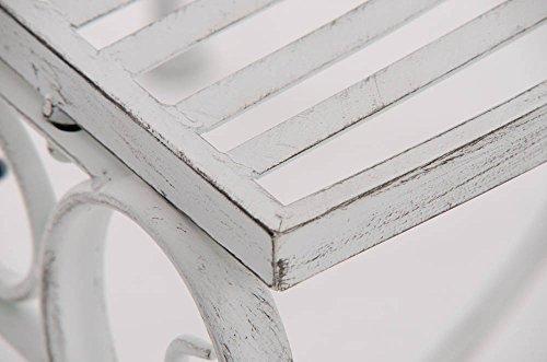 CLP Metall Eckbank / Gartenbank LORENA, Baumbank Design nostalgisch antik, Eisen lackiert, ca. 140 x 60 cm Antik Weiß - 9