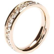 Happiness Boutique Damas Anillo Delicado Chapado en Oro Rosa | Anillo Elegante con Diamantes de Imitación