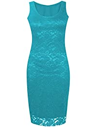 Lush Clothing C8-Floral Lace Bodycon Sleeveless Long Ladies Womens Midi Dress-Uk Size - Turquoise - M/L=Uk 12-14