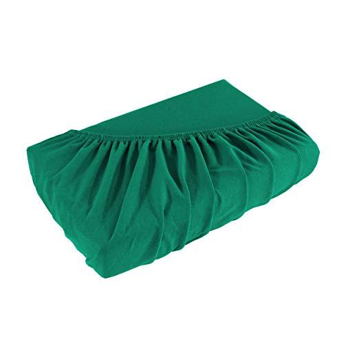 Topper Spannbettlaken Bettlaken 90x200-100x200 cm/Spannbetttuch Spannleintuch aus Jersey Baumwolle in Emerald/smaragdgrün für Boxspringbetten