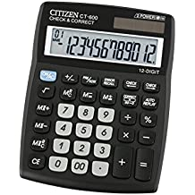 Citizen CT-600J - Calculadora (Escritorio, Basic calculator, Negro, De plástico, Estándar (3 dígitos), LR44)