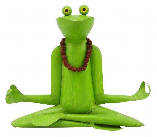 Metallfigur Metalldeko Yoga Frosch mit Kette Gartendeko Gartenfigur 28 cm Deko