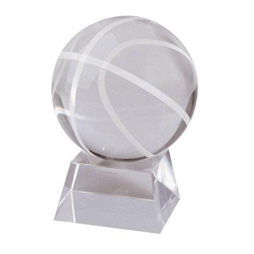 Glas Basketball Vitrine (Glas Pokal, Basketball ''Pokal'', Trophäe für Vitrine, transparent, H= 8cm, Gravur geeignet (GERMAN CRYSTAL powered by CRISTALICA))