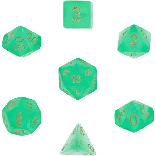 polyhedral-7-die-borealis-chessex-dice-set-light-green-with-gold-numbers-chx-27425-by-chessex