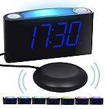 Mesqool Lauter Vibrations-Wecker, Große 7-Zoll-LED-Anzeige, 7-farbiges Nachtlicht, Helligkeitsregler, 3 Lautstärkepegel, 2 USB-Ladeanschlüsse, Digitale Nachttischuhr für Paare, Gehörlose