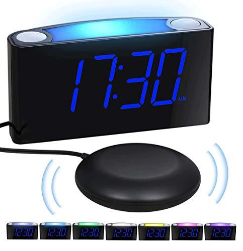 Mesqool Reloj Despertador de vibración Fuerte, Pantalla de 7' LED, luz Nocturna de 7 Colores, Control de Brillo, 3 Niveles de Volumen, 2 Puertos de Carga USB, Reloj Digital para Parejas, sordos