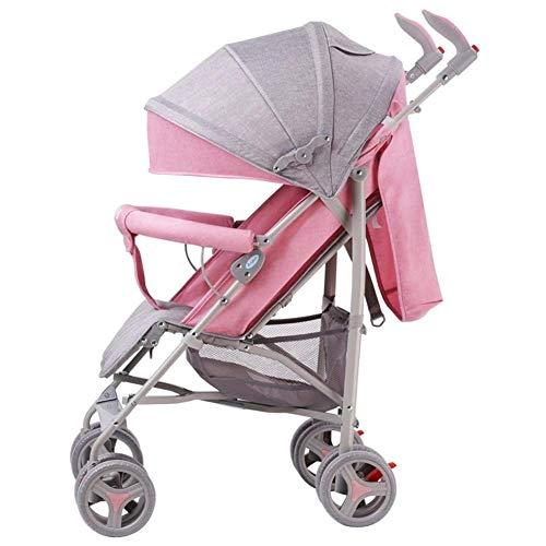 LQRYJDZ Kinderwagen Kinderwagen Verstellbarer Sitz for das Flugzeugfach Leichter Kinderwagen for den Cabrio-Kinderwagen (Color : Pink) - Cabrio Schwarz Rahmen