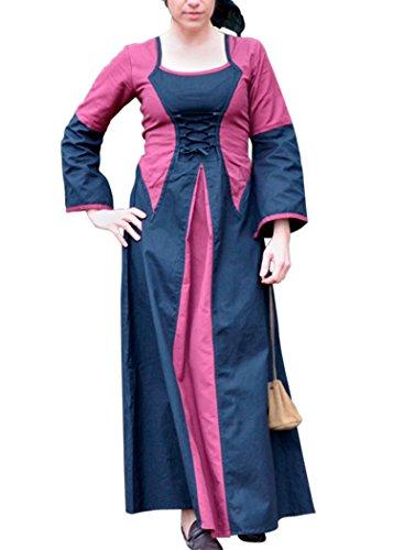 Mittelalterkleid Elena aus Baumwolle/Leinen - bordeaux/schwarz - LARPkleid Größe (Larp Empire Kostüm)