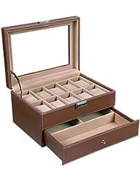 SONGMICS Caja para 10 de Relojes Joyería Soporte de Exhibición de Relojes caja Vitrina JWB007