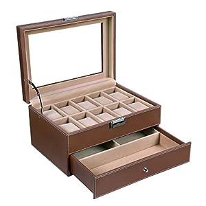 SONGMICS Uhrenbox Uhrenkoffer für 10 Uhren Schublade Uhrenkasten Schmuckbox JWB007