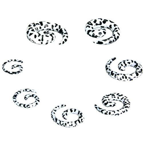 Ohr Dehnstabr Taper Stecker Expander (Schwarz Leopard) ()
