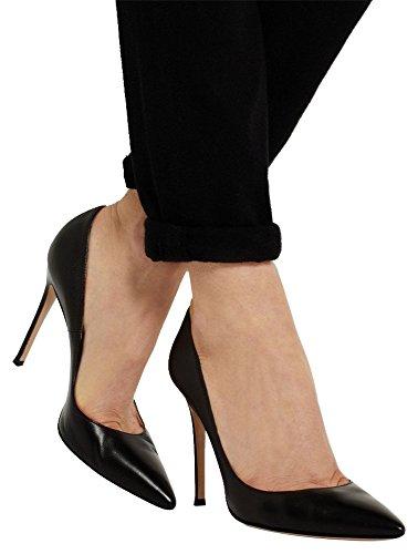 Guoar Damen Große Größe Geschlossene Toe Pumps Spitze Zehen Rutsch Mehrfarbig Stiletto Büro-Dame Ballsaal Party Hochzeit Schwarz