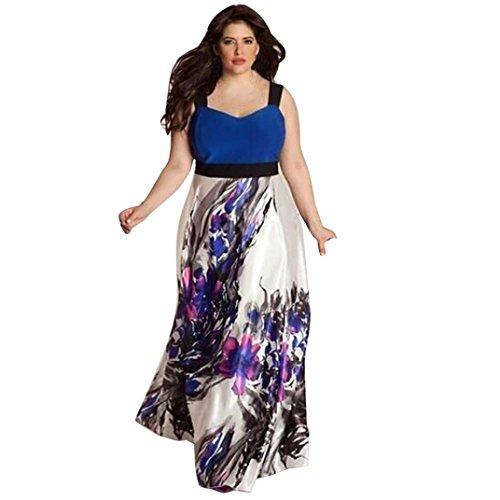 Elecenty Damen Übergröße Kleider Frauen Blumen Drucken Kleid V-Ausschnitt Hemdkleid Abendkleider Kleider Sweatshirt Partykleid Kleid Cocktailkleid (3XL, Blau)