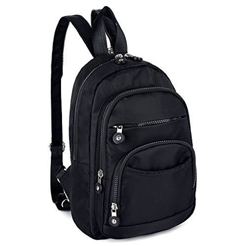 UTO Damen Mini Backpack Nylon Daily Rucksack Multi Reißverschluss Facher Convertible Crossbody Schultertasche Messenger Tasche (Mini-nylon-rucksack)
