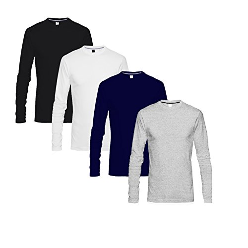 Blive Men's Round Neck Full Sleeve Tshirt Black White Navy Blue Grey
