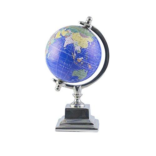Casa Décor Handmade Veteran Blue Desktop Rotating Globe Chrome Metal Base Stand World Globe - Perfect Globes for Students and Kids - Political Globe - Decorative Gift Item