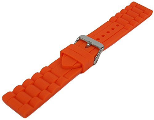 Silikon Armband Orange 18mm-26mm Uhrenarmband Glieder Muster Uhrband 24mm - Uhrenarmband Silikon 23mm