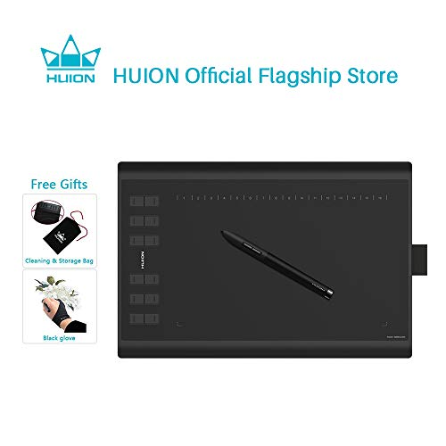 Huion 1060Plus Graphics Drawing Tablet 8192 Pressure Sensitivity Pen Tablet and Built-in Card Reader 8 MicroSD Card 5080 LPI