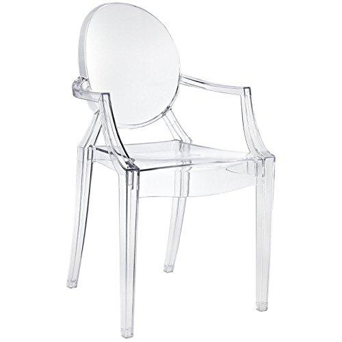 Sedia modello fantasma in stile luigi da pranzo e da tavolo, trasparente