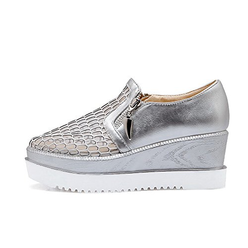 AgooLar Damen Reißverschluss Mittler Absatz Pu Leder Rein Quadratisch Zehe Pumps Schuhe Silber