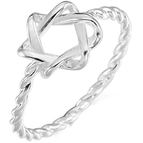 MunkiMix Sterling Silver Banda Anello Anelli Argento Stella di David Matrimonio Impegno Dimensioni 17 Donna