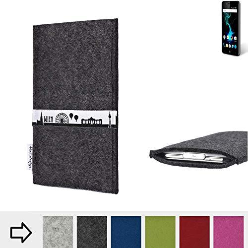 flat.design für Allview P6 Pro Schutztasche Handy Hülle Skyline mit Webband Wien - Maßanfertigung der Schutzhülle Handy Tasche aus 100% Wollfilz (anthrazit) für Allview P6 Pro