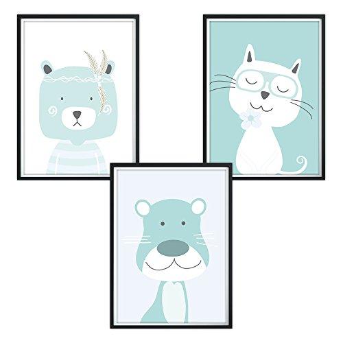 3er-Set DINA4 Poster für Kinderzimmer und den Bilderrahmen, Kinderposter, Babyzimmer Bilder, Baby Bilder, Dekoration Kinderzimmer (P9)