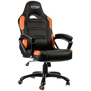 Nitro Concepts C80 Comfort Silla de Juego – Silla de Oficina – Cuero sintético – Mecanismo oscilante de hasta 15 ° – 120 kg – Negro/Naranja