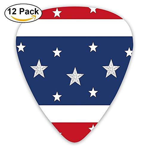 Stripes And Stars On Horizontal Guitar Picks 12/Pack Set ()