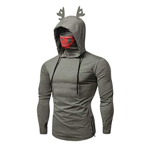 Weihnachtspullover Herren Hoodies Top Sweater Pulli Sweatshirt Weihnachtspulli weihnachtlichen Kapuzenpullover Mit Kapuze
